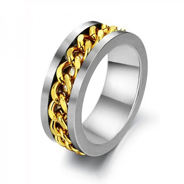 Korean Personalized Golden Steel Chain Rotation Stainless Steel Men's Ring