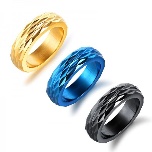 Korean Titanium Personality Diamond Cut Flash Surface Personality Personalized Ring Custom Lettering