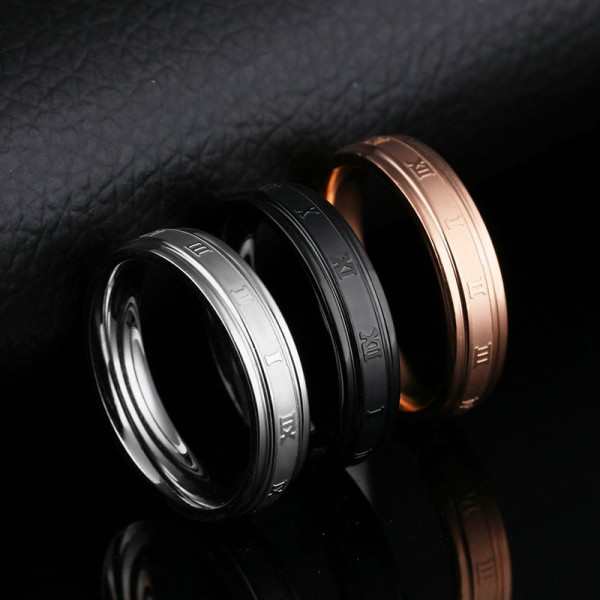 Stainless Steel Ring For Men Plating Gold Black and Silver Rome Numerals Pattern Dull Polish Craft Simple and Fashion
