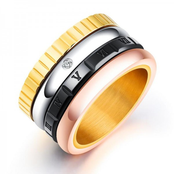 Titanium Ring For Men Plating Black Rose Gold and Silver Luxury and Liberality Rotatable Design Rome Numerals Pattern
