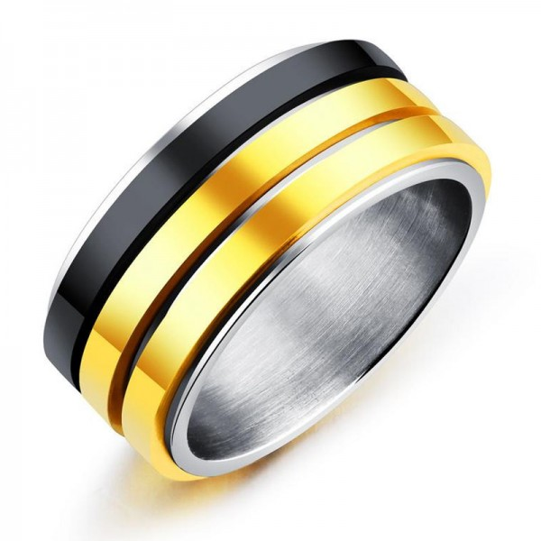 Titanium Ring For Men Plating Black and Gold Polish Craft Exquisite and Liberality