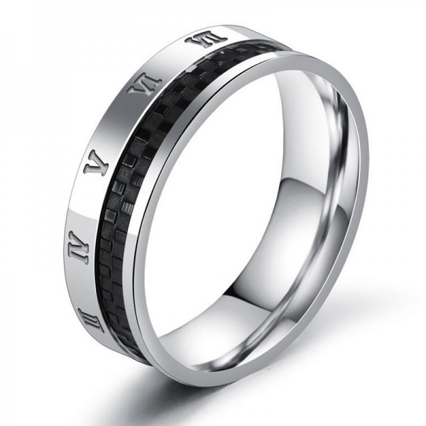 Titanium Silvery Ring For Men Decent and Cool Rome Numerals Pattern Gear Design
