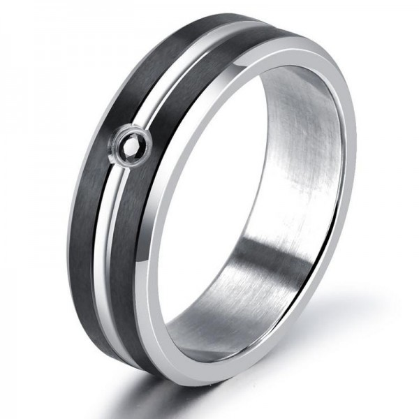 Titanium Steel Black Diamond Contrast Color Men's Ring