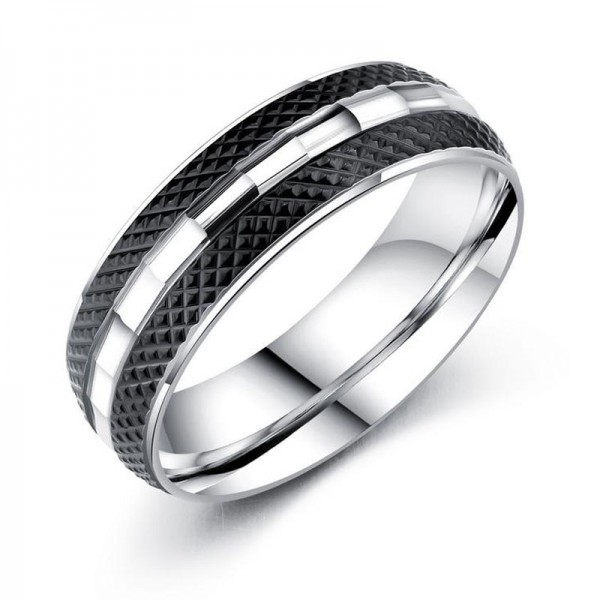 Titanium Black Ring For Men Cool and Fashion Unqiue Design Smooth Inner Arc