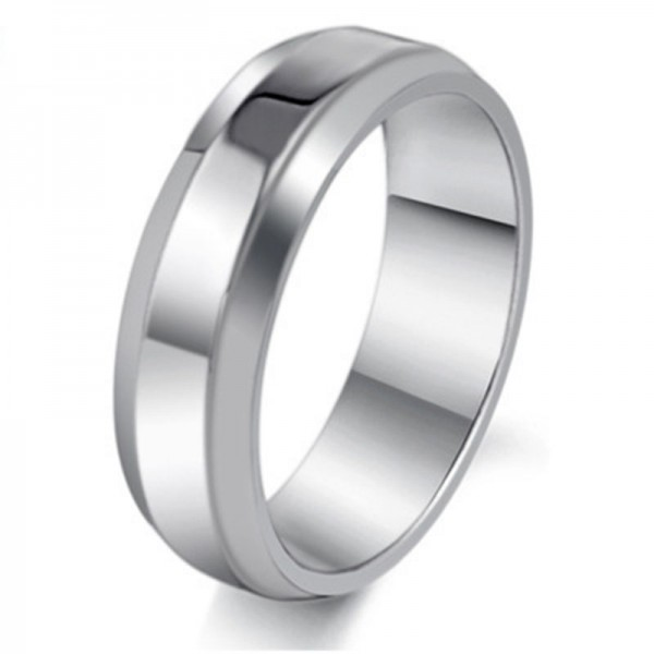 Stainless Steel Silvery Ring For Men Simple and Fashion Smooth Inner Arc Design Comfortable to Wear