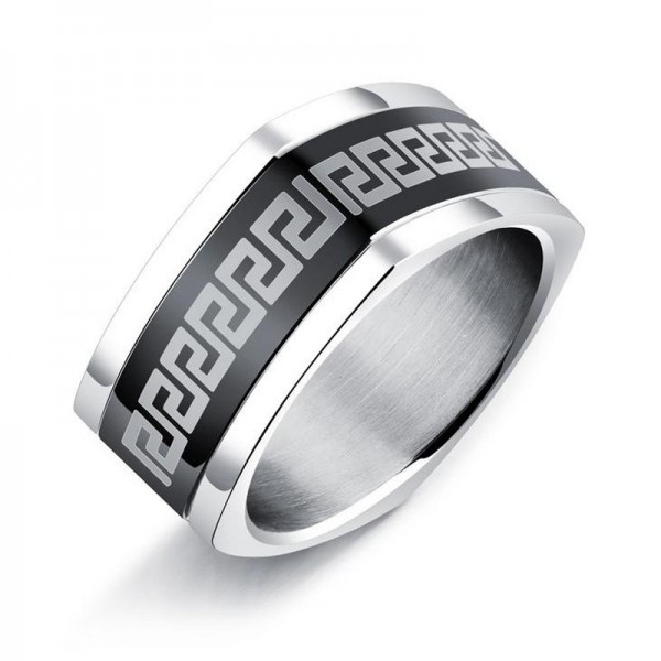Titanium Black Ring For Men The Great Wall Pattern Square Style Unique and Fashion Plating Black and Polish Craft