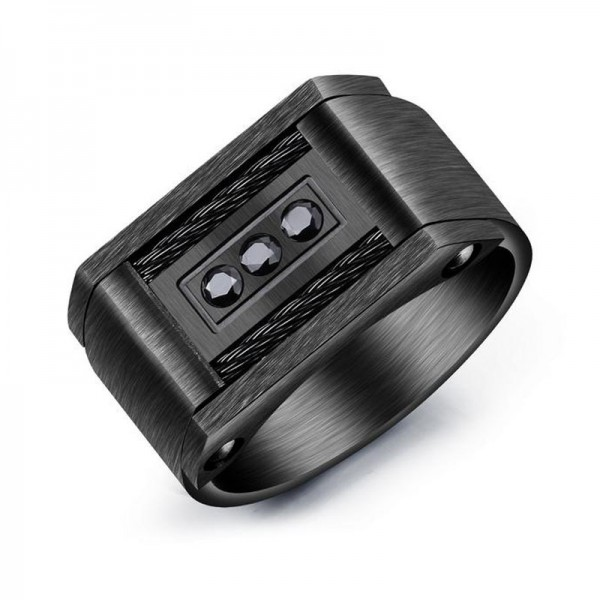 Titanium Black Ring For Men Inlaid Cubic Zirconia Unique Design Cool and Liberality Brushed Craft