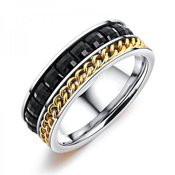 Titanium Ring For Men Chain Design Inlaid Cubic Zirconia Exquisite and Fashion Smooth Inner Arc