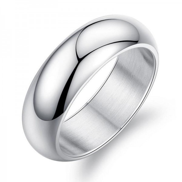 Titanium Silvery and Golden Ring For Men Simple and Fashion Style Polish Craft Smooth Inner Arc