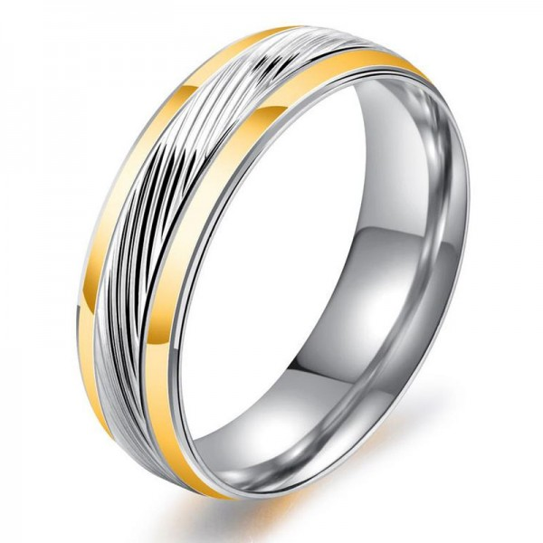 Titanium Silvery Ring For Men Simple and Fashion Diagonal Design Goldplating Craft