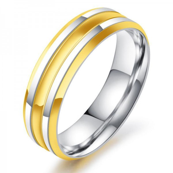 Stainless Steel Ring For Men Plating Silver and Gold Simple and Fashion Polish Craft