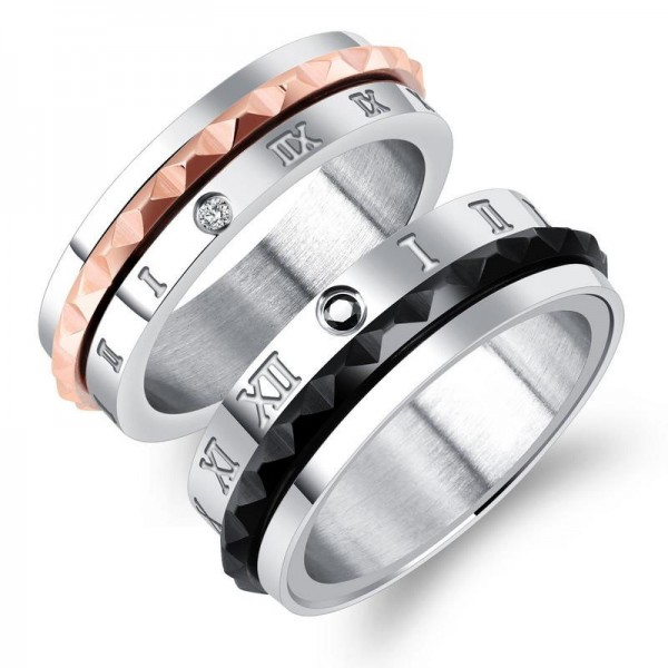 Titanium Silvery Ring For Men Plating Rose Gold and Black Rome Numerals Pattern Inlaid Cubic Zirconia Fashion and Personality