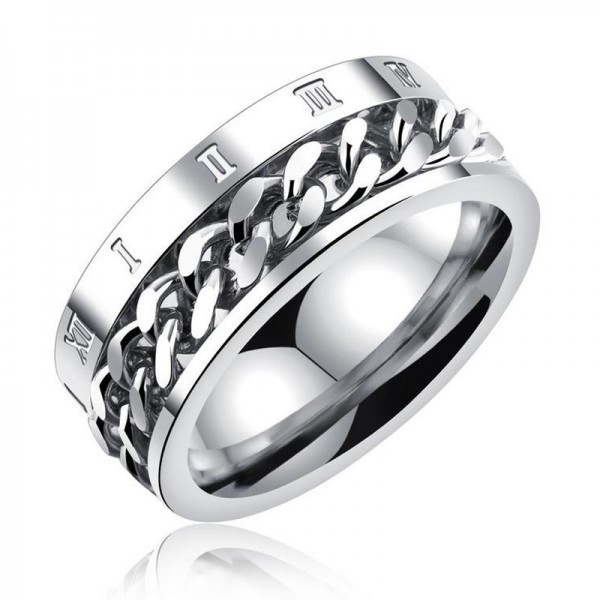 Titanium Silvery Black and Gold Ring For Men Chain Design Rome Numerals Pattern Fashion and Unique