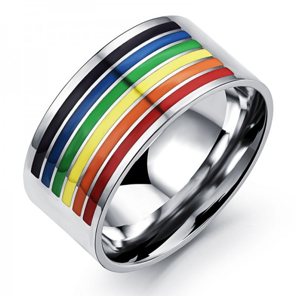 Stainless Steel Rainbow Ring For Gay Fashion and High Personality Polish Inner Arc Design Comfortable to Wear