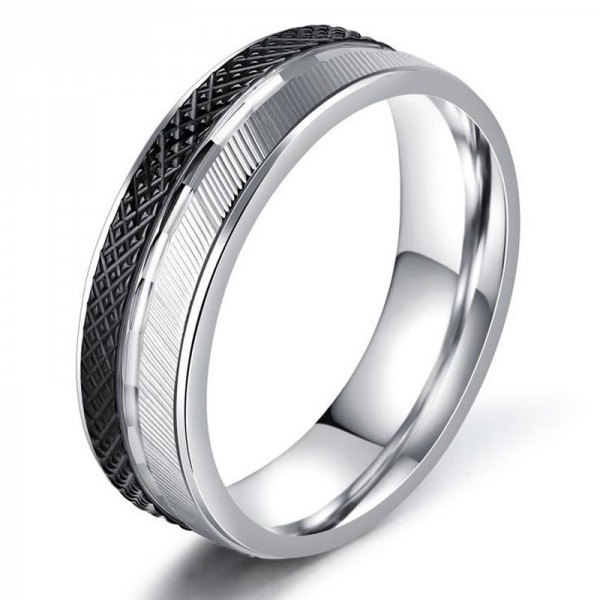 Stainless Steel Silvery Ring For Men Classic and Mature Diagonal and Particles Design Fluted Craft