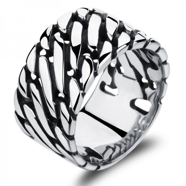 Stainless Steel Silvery Ring For Men Liberality and Punk Style Polish Craft