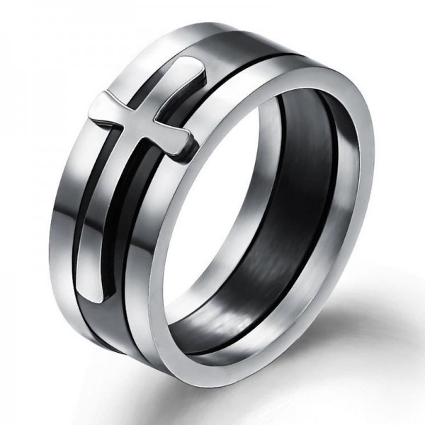 Titanium Ring For Men Plating Black Inlaid Cross Simple and Classic Polish Craft
