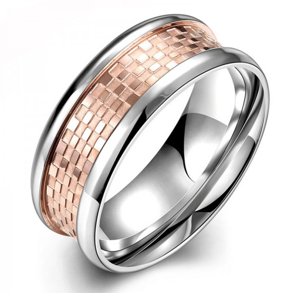 Titanium Rose Gold Ring For Men Simple and Fashion Polish Inner Arc Design