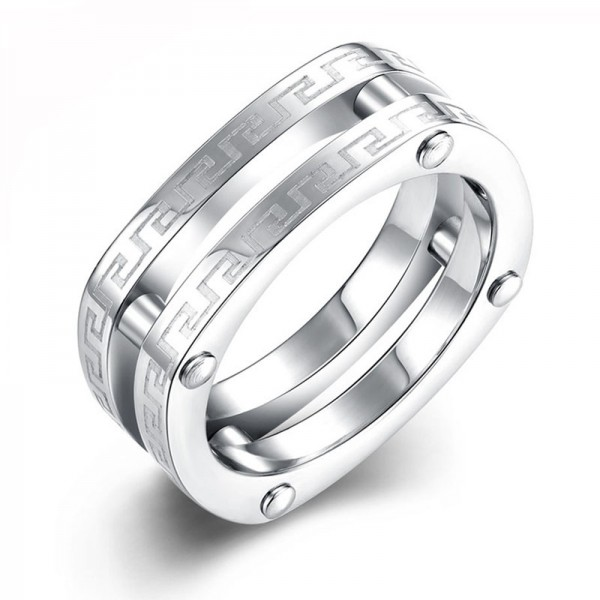 Stainless Steel Silvery Ring For Men Mental Style the Great Wall Pattern Polish Craft