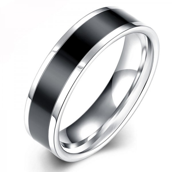 Titanium Ring For Men Plating Black Classic and Liberality Polish Inner Arc Design Comfortable to Wear
