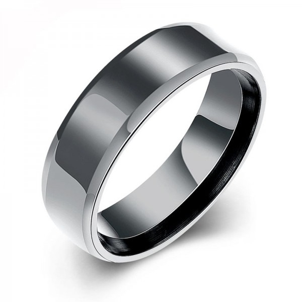 Titanium Black Ring For Men Simple and Cool Plating and Polish Craft