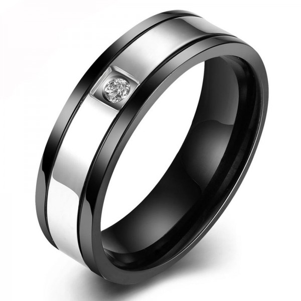 Titanium Silvery Ring For Men Inlaid Cubic Zirconia Exquisite and Luxury Plating and Inlaid Craft