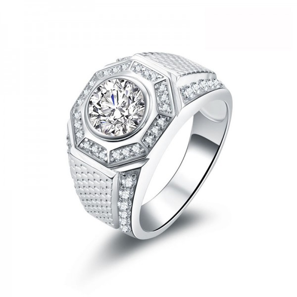 925 Silvery Ring For Men Inlaid Cubic Zirconia Exquisite and Liberality
