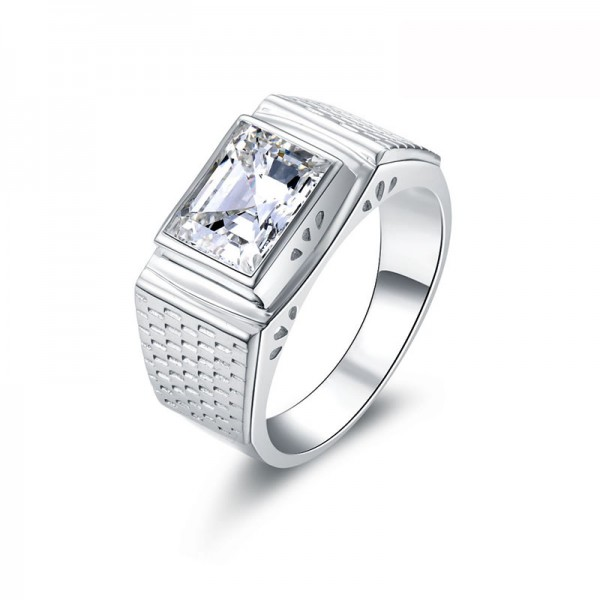 925 Sterling Silver Ring For Men Inlaid Cubic Zirconia Fashion and Decent
