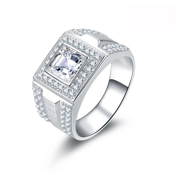 925 Sterling Silver Ring For Men Inlaid Cubic Zirconia Fashion and Exquisite