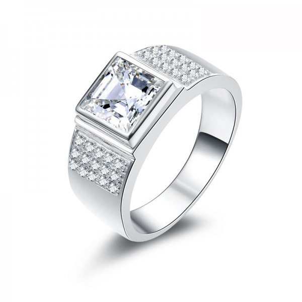 925 Sterling Silver Ring For Men Inlaid Cubic Zirconia Decent and Elegant