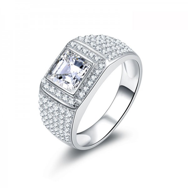 925 Sterling Silver Ring For Men Inlaid Cubic Zirconia Decent and Fashion