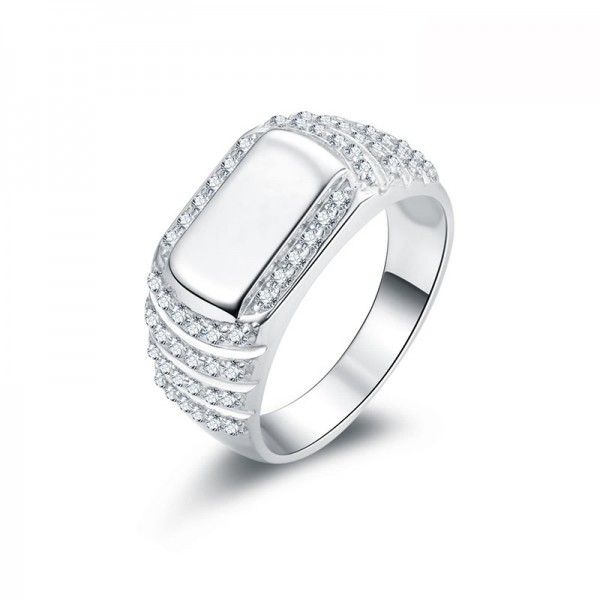 925 Sterling Silver Ring For Men Inlaid Cubic Zirconia Simple and Fashion Smooth Design