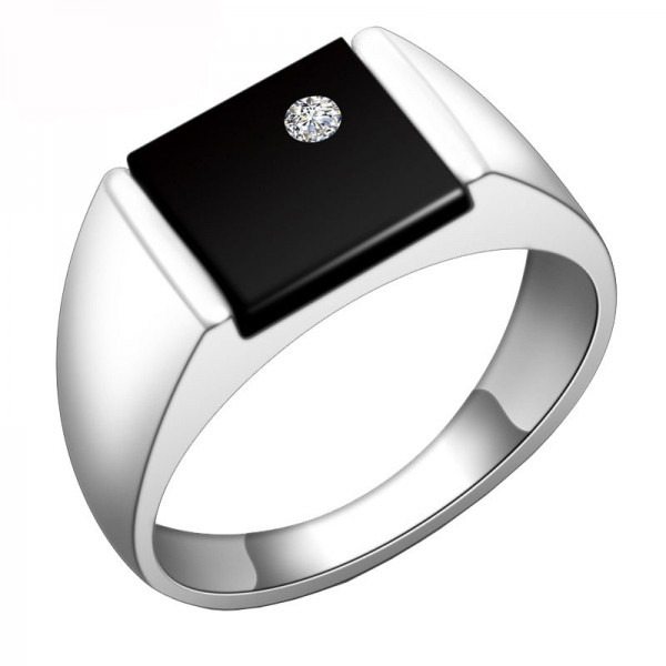 Sterling Silver Ring For Men Inlaid Cubic Zirconia and Black Agate Liberality and Elegant Polish Craft
