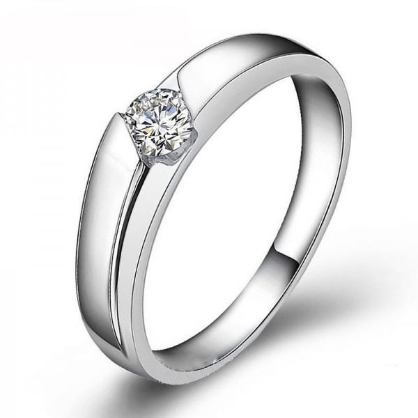 925 Sterling Silver Ring For Couples Inlaid Cubic Zirconia Liberality and Elegant Polish Craft