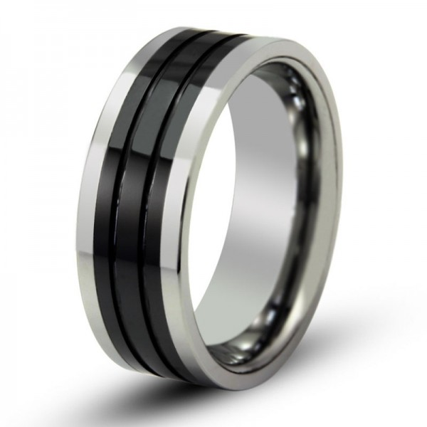 Tungsten Black Ring For Men Cool and Fashion Polish Inner Arc Fluted Craft