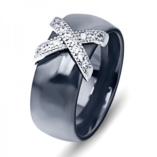 Black And White Ceramic Titanium Steel Couples Ring Micro-Inlay Cubic Zirconia Wear-Resistant Rings