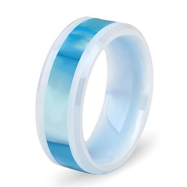 Ceramics Ring For Men Inlaid Shell Exquisite and Elegant Style