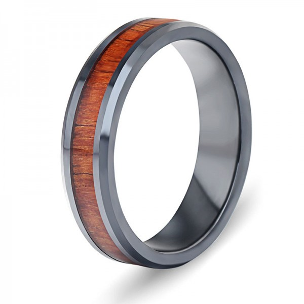 Ceramics Ring For Men Inlaid Acacia Elegant and Liberality