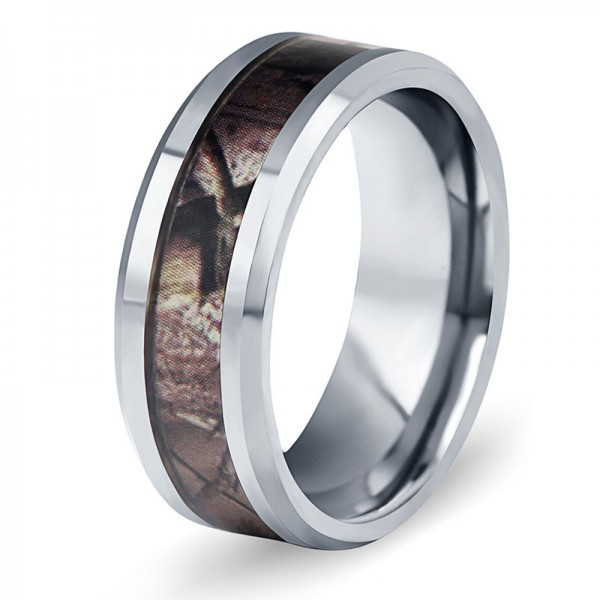 Tungsten Ring For Men Inlaid Fiber Elegant and Fashion Inner Arc Design