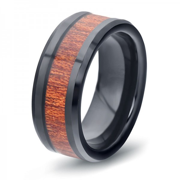 Tungsten Black Ring For Men Inlaid Wood Elegant and Classic Polish Inner Arc Design