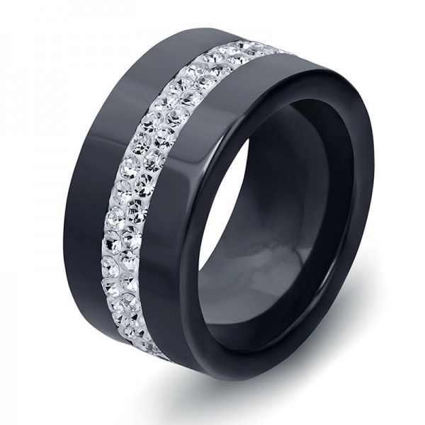 Ceramics Black and White Ring For Men Inlaid Cubic Zirconia Classic and Luxury