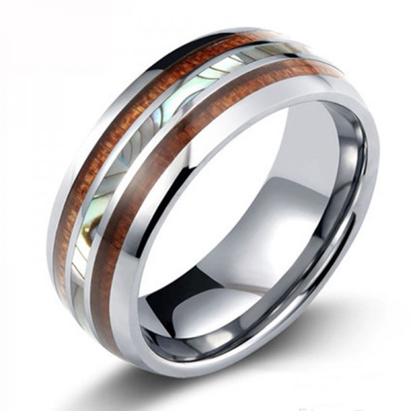 Tungsten Steel Parquet Shell Ring