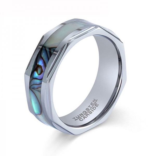 Tungsten Ring For Men Inlaid Shell Exquisite and Fashion Polish Craft Cutting Design