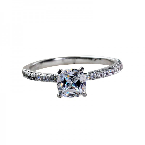 1 Carat Half Circle Diamond Square Diamond 925 Silver Platinum Diamond Ring