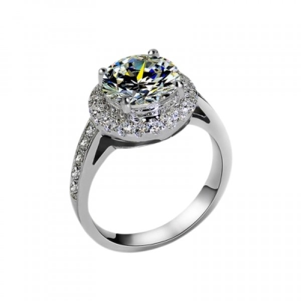 3 Carat Inlaid 925 Plated Platinum Half-Circle Diamond Wedding Ring
