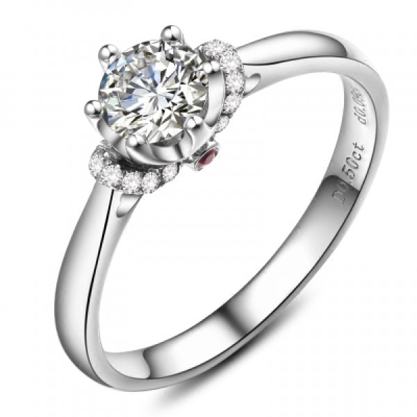 925 Sterling Silver Ring For Women Plating Platinum Optional 0.5CT or 1.0CT Exquisite and Fashion
