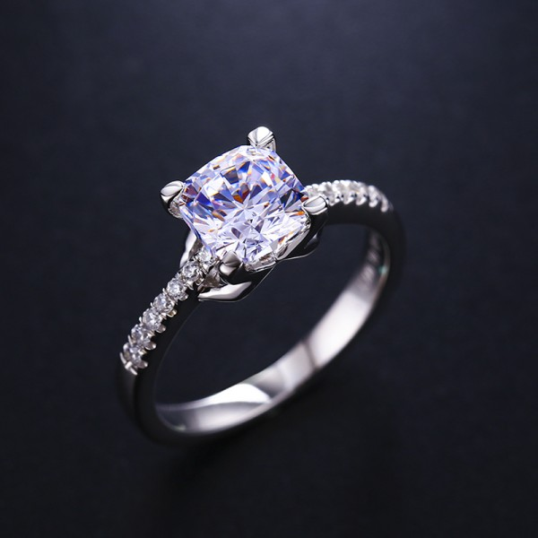 Platinum-Plated Sterling Silver Ring 1 Carat Square Diamond Engagement Ring
