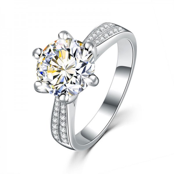 925 Sterling Silver Ring For Women Inlaid Counterfeit Diamond Optional 1.0 CT 2.0 CT 3.0 CT Simple and Luxury
