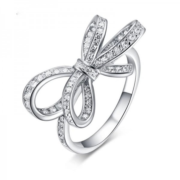 925 Sterling Silver Ring For Women Bowknot Design Inlaid Cubic Zirconia Adorable and Unique