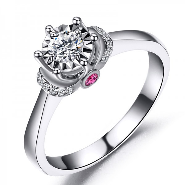 925 Sterling Silver Ring For Women Six Claws Inlaid Diamond Optional 0.5/1.0 Carat Ruby Decoration Luxury and Exquisite
